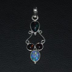 925 STERLING SILVER NATURAL ETHIOPIAN FIRE BLACK OPAL CAB PENDANT JEWELRY 127