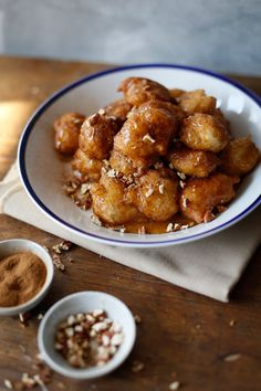 Loukoumades aka Greek Doughnuts With Honey And CinnamonLucky Pony Apple Streusel Cake, Deep Frying Pan, Pecan Nuts, Honey And Cinnamon, Dry Yeast, Doughnuts, Coffee Cake, Healthy Recipes, Healthy Food