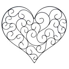 """Creativity shouldn't stop in the craft room. Hang this Matte Black Heart Shaped Metal Wall Decor with Scrolls to express your unique personal style! This gorgeous black piece features a scroll design with an overall heart shape. Simple yet elegant, this piece will make the perfect addition to your living room, bedroom or office.    Dimensions:      Length: 13""""    Width: 14 1/2""""    Thickness:3/8""""      Hanging Hardware:      No hanging hardware is ..."""
