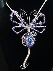 Abstract Dragon Fly wire wrap pendant
