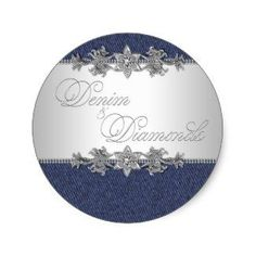 elegant denim and diamonds stickers