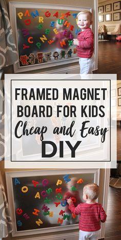 Framed Sheet Metal Magnet Board for Kids: a Tutorial – Kinderspiele Playroom Design, Playroom Decor, Cheap Playroom Ideas, Church Nursery Decor, Playroom Table, Kids Wall Decor, Boy Decor, Room Ideias, Toddler Playroom