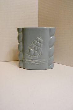 Orange California Pottery Three Part Ceramic Dish with Brass Handle ...