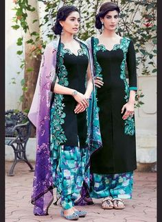 Black Cotton & Satin Salwar Kameez ,Indian Dresses - 1