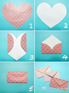 This is an easy way to make envelopes if you're sending cards to somebody in you're family or close to you and it's really a fun thing to do when you're bored. Cute Crafts, Diy And Crafts, Diy Paper, Paper Crafts, Diy Envelope, Heart Envelope, Envelope Maker, Diy Presents, Diy Gifts For Boyfriend
