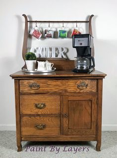 Antique Oak Washstand, Coffee Bar, Dry Wine Bar, Bathroom Storage Cabinet, Farmhouse Kitchen Cabinet, Oversized Nightstand, Nursery, Antique Curio Cabinet, Antique Kitchen Cabinets, Antique Bar, Oak Cabinets, Antique Shops, Furniture Redo, Repurposed Furniture, Painted Furniture, Furniture Ideas