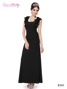 f4a4df77d6dc0 Flutter Sleeve Fitted Long Black Evening Dress - Ever-Pretty US 黒いプロムドレス