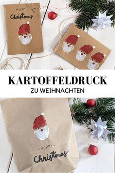 Kartoffeldruck Ideen - Weihnachten basteln: Kartoffel Stempel kann man gut zum Weihnachtskarten bedrucken verwenden. Auch für Weihnachten Geschenktüten sind die Weihnachtsmann Stempel ebenfalls gut geeignet.