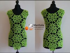 How to crochet lime top tunic with motifs free tutorial pattern by marifu6a - YouTube