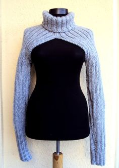 Knit Shrug Sweater Turtleneck Long Sleeve Chunky Bolero Scarf Cowl Women Man Moto Biker Sweater  Made to Order FREE SHIPMENT