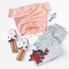 Off Shoulder Ruched Drawstring Crop Tee Style Outfits, Cute Casual Outfits, Cute Summer Outfits, Spring Outfits, Teenage Outfits, Teen Fashion Outfits, Outfits For Teens, Womens Fashion, Ootd Fashion