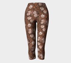 """""""White roses, green leaves"""" capris by Clipso-Callipso #rose, #roses, #rosegarden, #floral, #flower, #flowers, #leaves, #nature, #natural, #garden, #handdrawn, #pattern, #pastel, #design, #girly, #retro, #vintage, #nostalgic,  #sepia, #rust, #brown, #peach, #coral, #cinnamon, #monochrome, #earthcolors, #capris"""