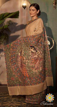 Kalamkari Fabric, Tussar Silk Saree, Madhubani Art, Madhubani Painting, T Shirt Painting, Fabric Painting, Saree Painting Designs, Hand Painted Sarees, Neck Designs For Suits