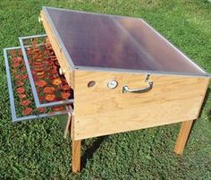 Discover thousands of images about Solar Food Dryer. Offers more than 10 square feet of drying area and a 6 pound capacity per load. Designed and manufactured here in Oregon by Eben Fodor, expert food dryer and author of The Solar Food Dryer. Diy Solar, Garden Projects, Wood Projects, Energy Projects, Solaire Diy, Food Dryer, Fruit Dryer, Ideias Diy, Dehydrator Recipes