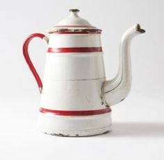 French enamel coffee pot - white with red trim