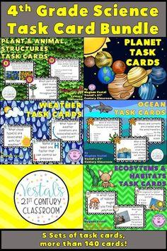These 4th Grade Science Task Cards make a great science review activity throughout the school year! Five sets of science task cards are included, totaling more than 140 cards! #vestals21stcenturyclassroom #4thgradescience #4thgradesciencetaskcards #4thgradescienceactivities #plantandanimalstructurestaskcards #planettaskcards #weathertaskcards #oceantaskcards #ecosystemstaskcards