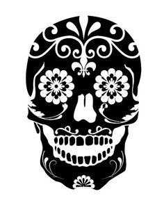 Sugar Skull Decal sticker wall art day of the dead dia de los muertos car graphics room decor emo goth gothic metal Silhouette Cameo, Machine Silhouette Portrait, Sugar Skull Stencil, Sugar Skull Artwork, Collage Kunst, Candy Skulls, Sugar Skulls, Sugar Skull Tattoos, Skull Tattoo Design