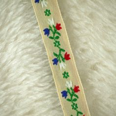2 YARDS, Vintage 1960s, Woven Embroidered Sewing Trim, Red Blue Flowers on Cream, 5/8 Inch Wide, L182 by DartingDogCrafts on Etsy