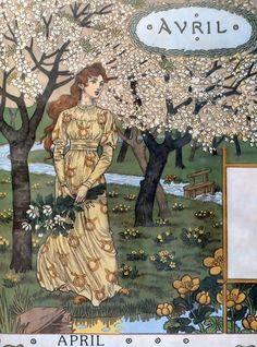 Belle Jardiniere Calendar Avril Painting by Eugene Grasset Reproduction Design Art Nouveau, Art Nouveau Poster, Illustration Française, Illustrations, Decoupage, Belle Epoque, Eugene Grasset, Jugendstil Design, Vintage Calendar