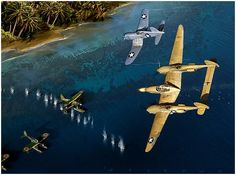 Cactus Air Force by Jack Fellows  Elements of the assemblage of Allied aircraft that sortied from Guadalcanal during the war are seen here i...