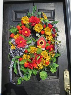 Country Door Wreath Strawberry Door Wreath by hollyhillwreaths
