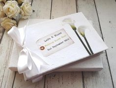 Personalised wedding guest book photo album cala lily