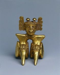 Panama, International Style, 5th-8th century cast gold, Overall - h:7.40 w:5.20 d:5.20 cm (h:2 7/8 w:2 d:2 inches).