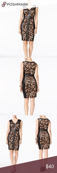 Thalia Sodi cocktail pencil wiggle dress New without tags, Thalia Sodi cocktail pencil and/or wiggle dress, size Large, multicolor, zipper opening, leopard print with mesh detail on bust line, 95% Polyster, 5% Spandex, made in china, knee length, dress is very pretty and would look great with high heels and or wedges, perfect for a night out of town or just a special event. Thalia Sodi Dresses Midi