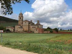 Walking the Camino de Santiago, entering beautiful Castrojeriz Spain.