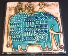 1967 Gustavsberg (Sweden) 'Unik' Series Elephant Wall Plaque by Lisa Larson Plaque Design, Clay Art Projects, Elephant Art, Ceramic Animals, Handmade Tiles, Pottery Designs, Ceramic Artists, Vintage Ceramic, Wall Plaques