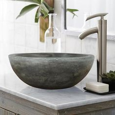 Let's Have a Better Bathroom with Bathroom Sink Bowls Vanity : Extraordinary Small Bathroom Decoration Using Single Brushed Stainless Steel Bathroom Sink Faucet Including White Marble Bathroom Vanity Tops And Round Dark Grey Stone Bathroom Sink Bowls With Stone Bathroom Sink, Bathroom Sink Bowls, Bathroom Sink Design, Concrete Bathroom, Stone Sink, Vessel Sink Bathroom, Modern Bathroom, Small Bathroom, Small Sink