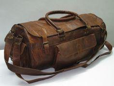 "Pure leather 21"" Duffle Gym bag Travel bag Luggage bag Overnite Bag Holdall bag Pure leather Weekend bags duffel bags. $119.00, via Etsy."