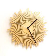 laser cut wooden wall clock - Volcano in stock: $ 61