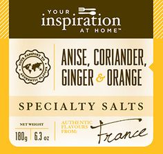 Anise Coriander Ginger Orange Specialty Salt #yiah #specialtysalt  Salt dusts are fine sea salts ground with herbs and spices for a unique flavour. Use as a regular salt or for an exotic finish to pork, pasta, seafood or chicken.