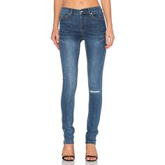 Cheap Monday Tight Skinny Denim ($90) ❤ liked on Polyvore featuring jeans, distressed jeans, blue jeans, faded blue jeans, ripped jeans and destroyed skinny jeans