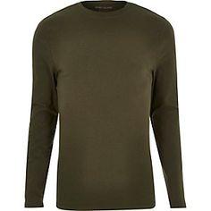 Khaki muscle fit t-shirt