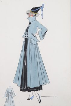 Lucile studio fashion sketches, circa 1918-20. comprising: design for pink columnar gown with transparent 'lampshade' fur trimmed coat; grey day coat with black dress with pencil annotation; gold brocade evening cape, floral coat with pink dress day ensemble, approx 36 by 19cm (4).