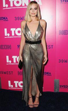 Margot Robbie in a silver wrap dress