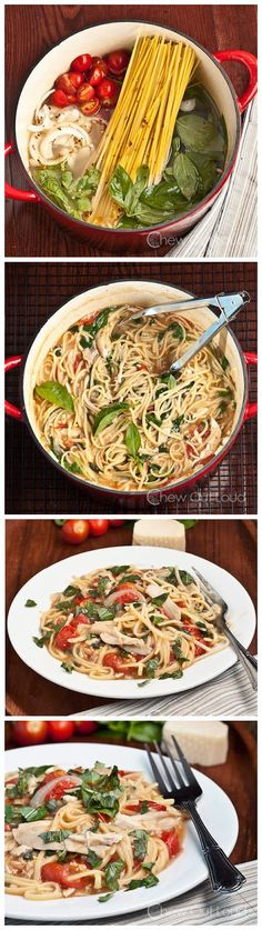 Amazing One Pot Pasta (Tomato Basil) ~ This One Pot Pasta is great grub food, easy and yummy. Pasta Recipes, Dinner Recipes, Cooking Recipes, Potato Recipes, Casserole Recipes, Crockpot Recipes, Soup Recipes, Breakfast Recipes, Chicken Recipes