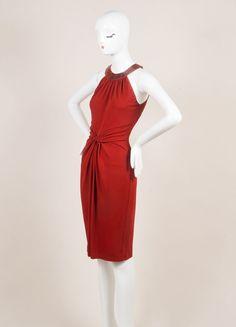 Red Textured Jersey Knit Snakeskin Trim Sleeveless Dress