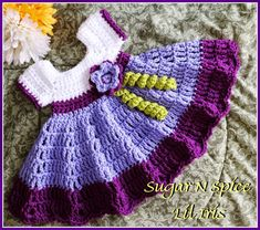 infant crochet dress pattern free | need a ruffled dress like this Sugar N Spice Baby Dress Free Pattern ...