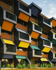 Colorful balconies in social housing project in Slovenia