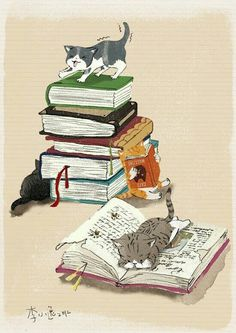 Cats and books, two of my favorite things. I Love Books, Good Books, My Books, Illustrations, Book Illustration, I Love Cats, Cute Cats, Capas Kindle, Cat Reading