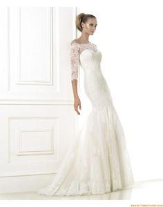 2015 Exklusive Romantische Brautkleider aus Softnetz mit Applikation