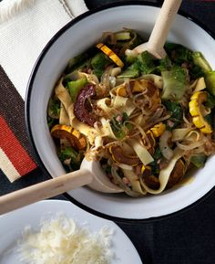 This week's recipe beats winter but stays seasonal: an Agrodolce-esque balsamic-roasted delicata squash with bitter greens over fettucini.