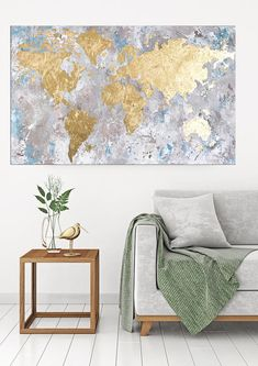 World map canvas art on canvas modern art map of the world globe world map gold leaf painting by nikki chauhan made to order this gold leaf gumiabroncs Choice Image