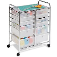 Walmart has this for $70 http://mobile.walmart.com/ip/Honey-Can-Do-12-Drawer-Rolling-Cart/17108717  This double-wide rolling cart organizer features 12 semi-transparent plastic drawers that allow you to quickly identify drawer contents. Smooth glide casters make this cart easy to maneuver and lock in place for a sturdy work surface.