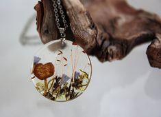 #Transparent #pendant with #mushroom, blue #flowers and #moss. Round Pendant . Pendant #epoxy #resin. Dry #plants pendant. Pendant #Terrarium