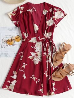 Cap Sleeve Wrap Mini Tea Dress. No wardrobe is complete without a tea dress and this wrapped front tea dress is the perfect solution. Crafted from a lightweight, floaty fabric, this mini dress features a flattering V-collarline, lovely cap sleeves and a self-tie closure. #Zaful #Dress
