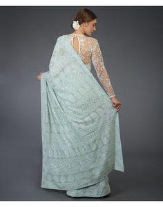 Adriatic Mist Masterpiece Chikankari & Kamdani Saree ( With 2 Blouses) Designer Dress For Men, Indian Designer Wear, Designer Dresses, Pure Georgette Sarees, Indian Silk Sarees, Trendy Sarees, Stylish Sarees, Saris Indios, Designer Sarees
